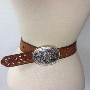 Nocona Brown Floral Embossed Silver Buckle Belt